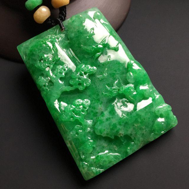阳绿山水牌翡翠挂件  尺寸68-45-9毫米