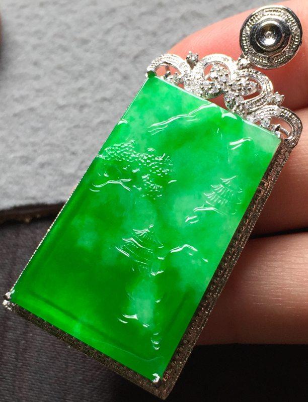冰种阳绿 山水翡翠吊坠 尺寸31.5*20.5*3整体48.5*22.3*8.6