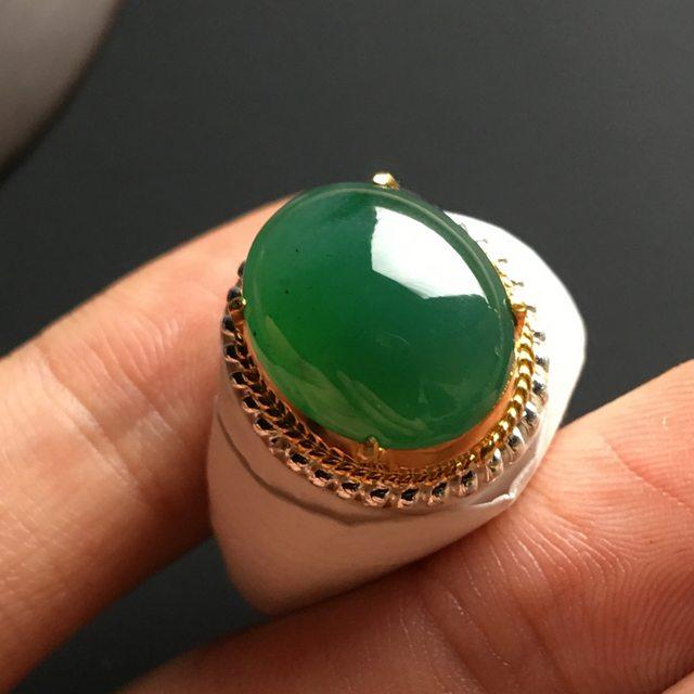 15-12-5.5寸冰糯种满色 缅甸天然翡翠戒指