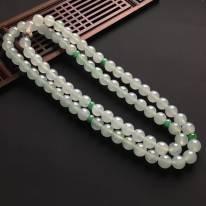 冰种晴底 翡翠佛珠项链 直径9.6mm