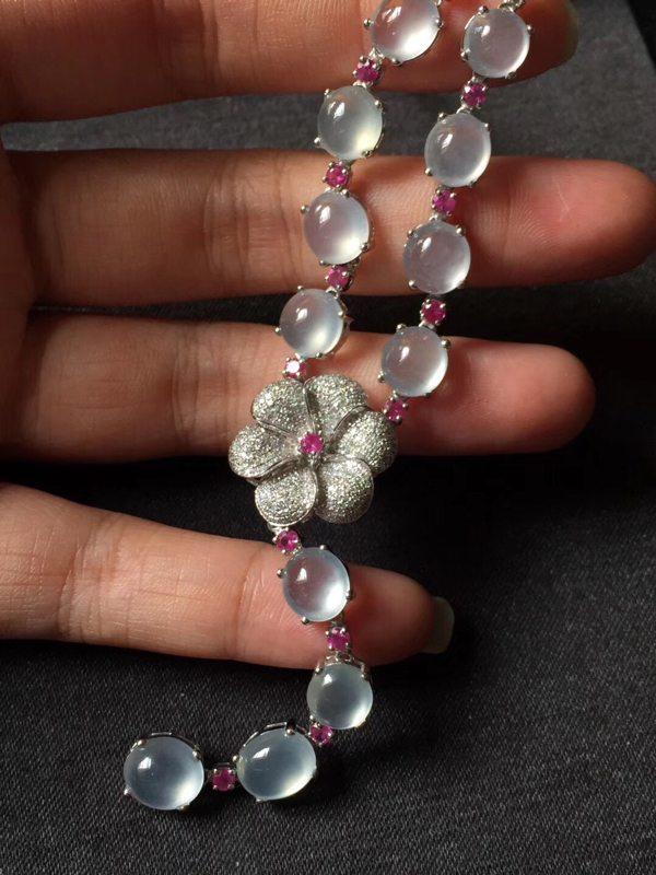 饱满玻璃种超白翡翠項鏈 项链蛋面最大8.27.4.5mm