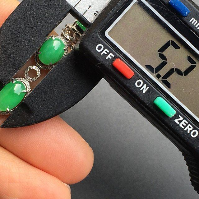 冰种阳绿 蛋面天然翡翠手链大小8*5.2*3mm图7
