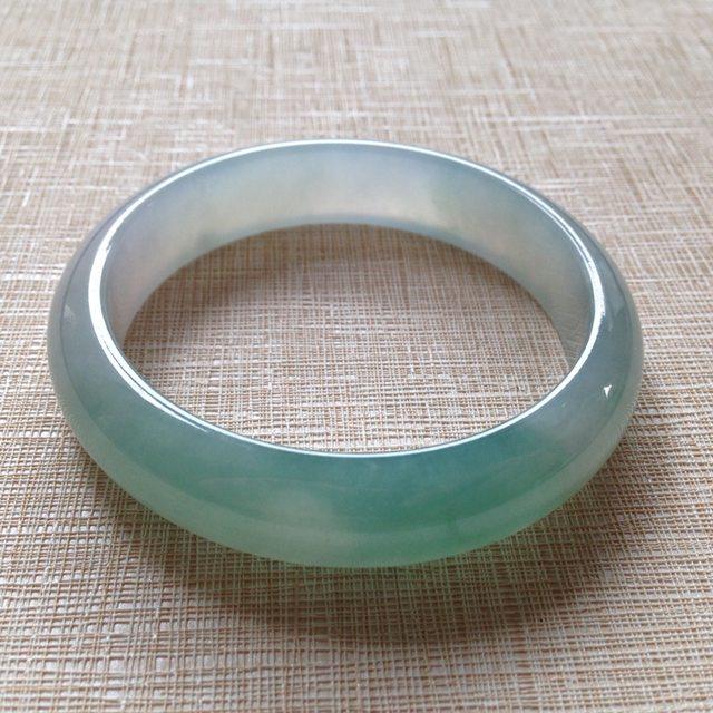 冰种晴水 缅甸翡翠天然手镯  尺寸56.5×13.9×7.6mm