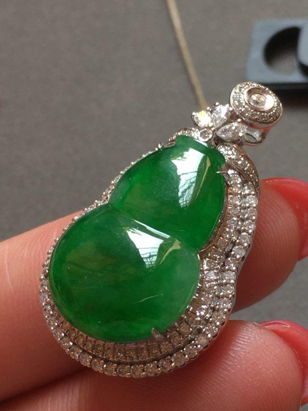冰种满绿葫芦翡翠吊坠