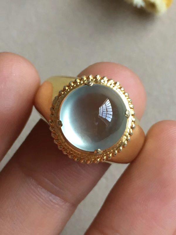 11-6寸玻璃晴底 缅甸天然翡翠戒指