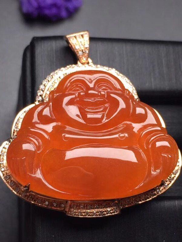 红翡佛公 翡翠吊坠 真金真钻镶嵌 种水超好 玉质细腻