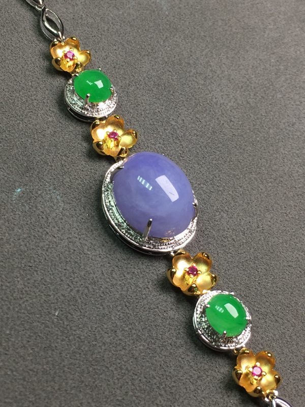 冰种紫罗兰翡翠手链
