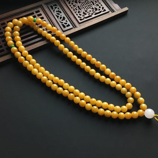 天然黄翡佛珠翡翠项链 直径7.5毫米