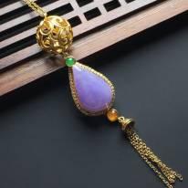 糯化种紫罗兰水翡翠项链16-10.5-3毫米