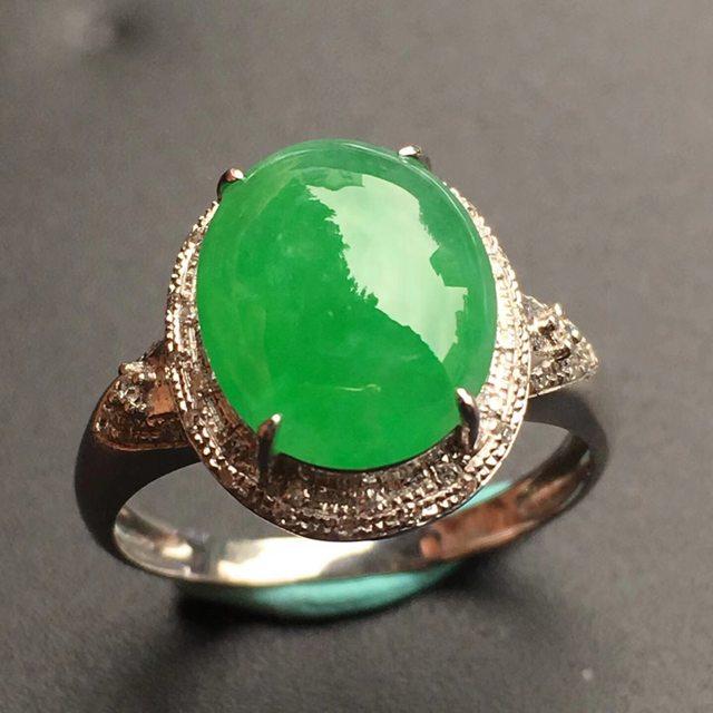 冰种阳绿 翡翠戒指大小11*9*4mm
