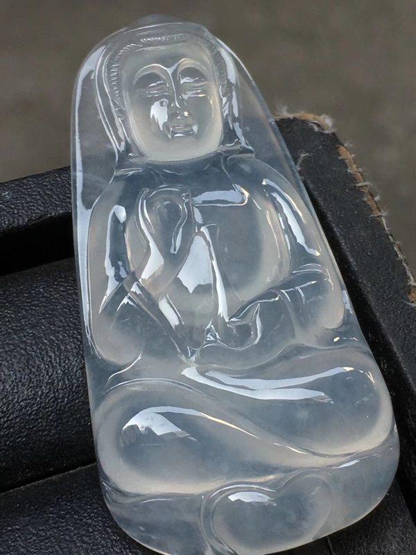 冰种观音 翡翠挂件 尺寸:52.6*26.3*7mm