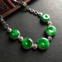 阳绿平安扣翡翠手链大15-5.5 小13-5.5毫米