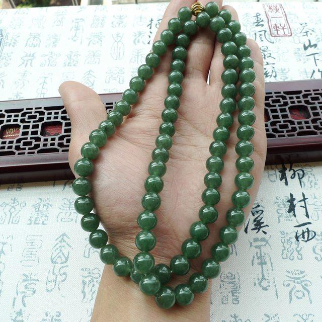 A货翡翠 好种满绿翡翠圆珠项链图6