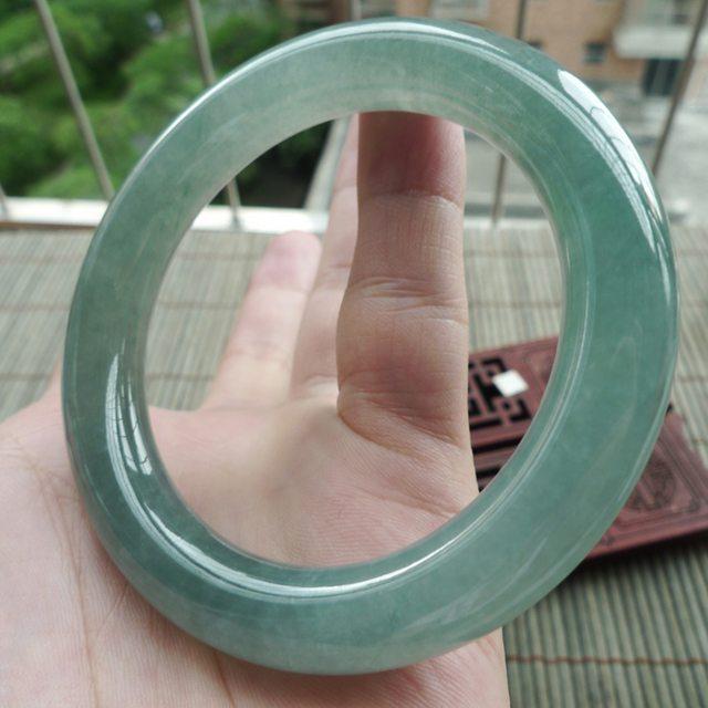 A货翡翠好种满绿圆条手镯54.8mm