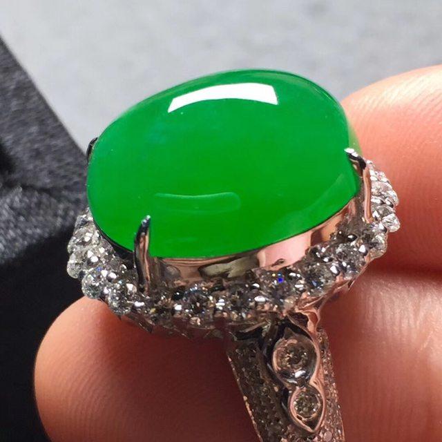 冰阳绿 缅甸天然翡翠戒指