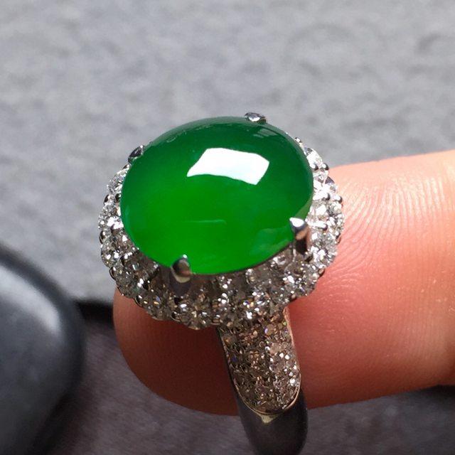 10.3*9*4寸高冰满绿 缅甸天然翡翠戒指