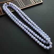 細糯種紫羅蘭翡翠佛珠項鏈