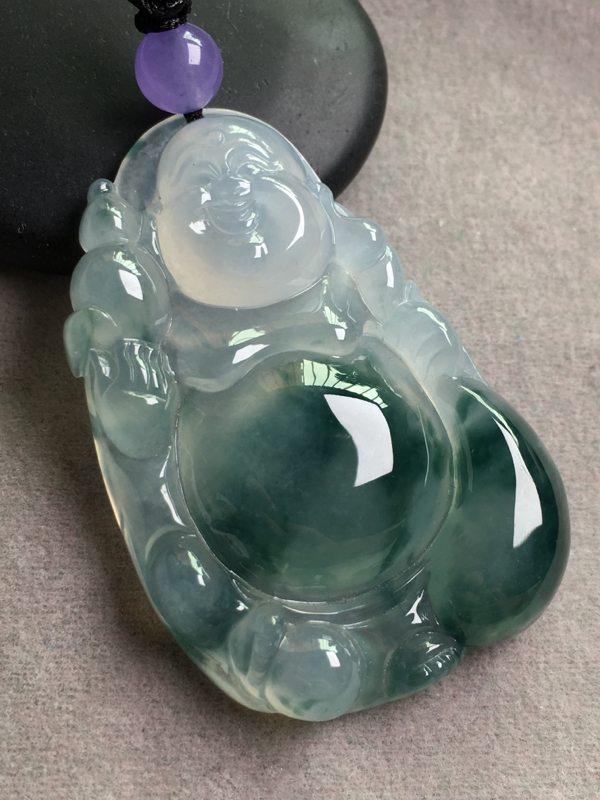 冰飘绿布袋佛 翡翠挂件 整体尺寸:44*30*8