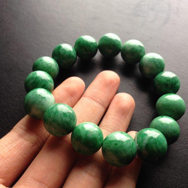 糯冰种阳绿翡翠手链 单颗尺寸15.5毫米
