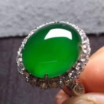 高冰帝王绿 缅甸天然翡翠戒指