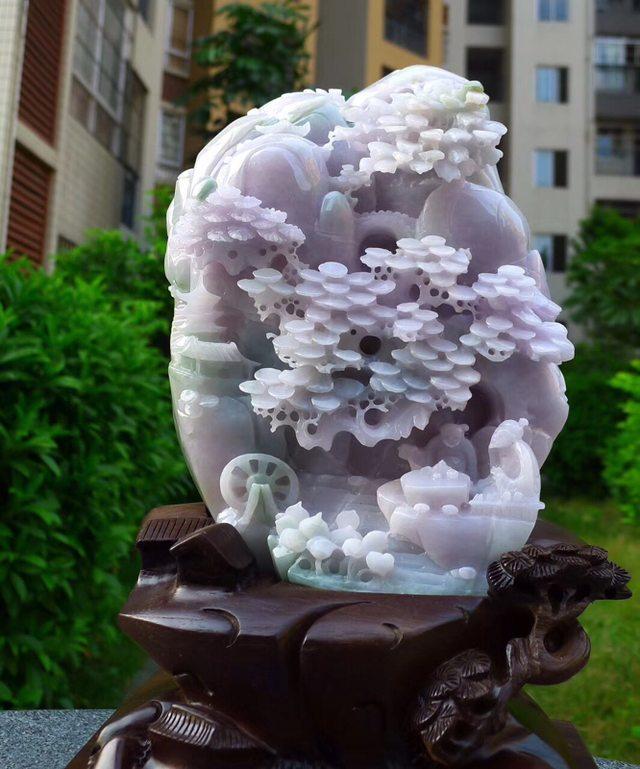 230.180.80寸冰糯浅紫色 高山流水翡翠摆件图6