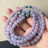 冰种紫罗兰翡翠珠链7.2mm