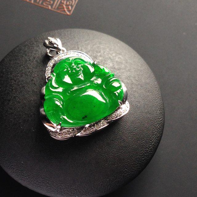 冰种阳绿翡翠吊坠  裸石尺寸16-17-2毫米