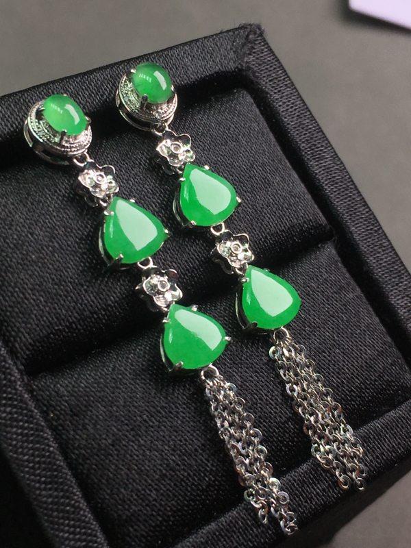 冰种满绿 翡翠耳坠 色泽鲜艳
