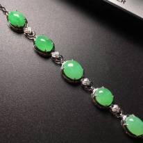 糯冰满绿蛋面翡翠手链