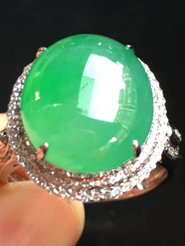 冰种满绿戒指 18K金镶嵌 完美无裂