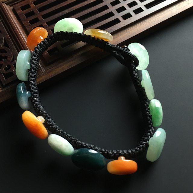 糯种多彩扣子翡翠手链 单个15-4.6mm