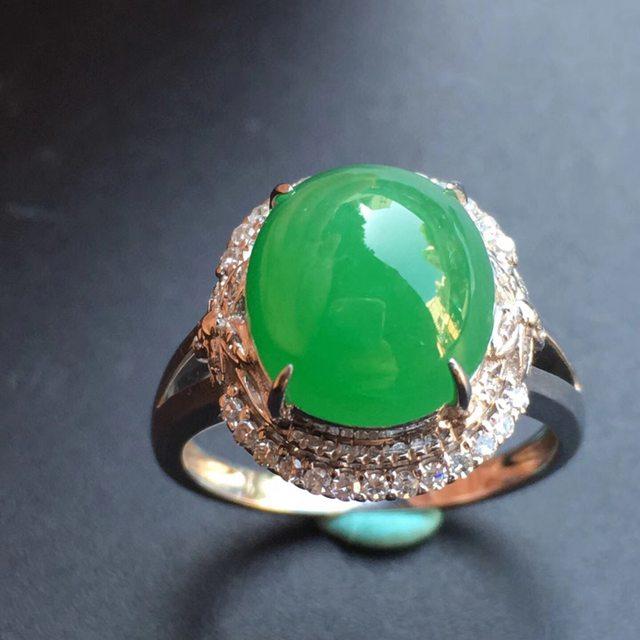 冰种满绿 缅甸天然翡翠戒指大小11*9.6*7mm