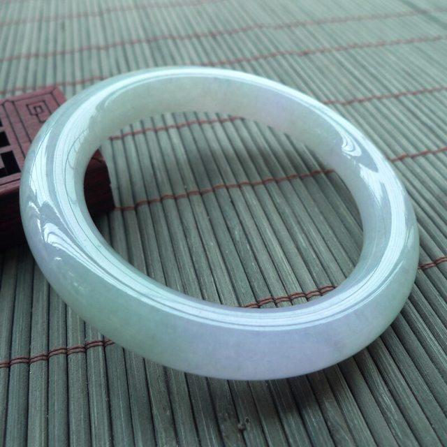 A货翡翠手镯 好种春彩圆条手镯53.4mm
