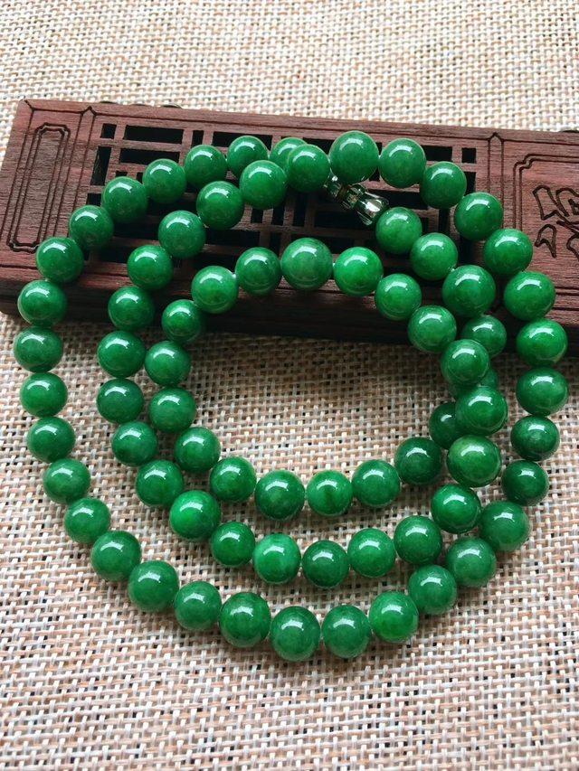 A货翡翠 冰糯种满绿圆珠翡翠项链