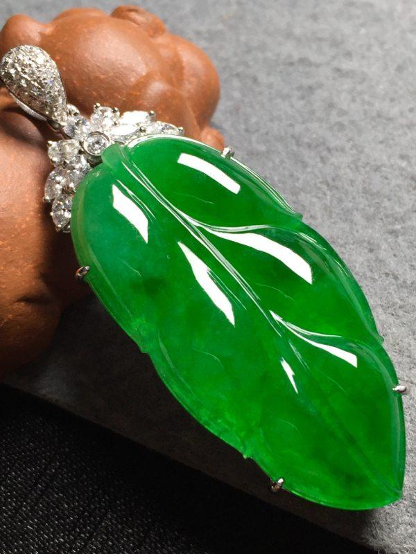 冰阳绿叶子 翡翠挂件 裸石尺寸37*18.5*4