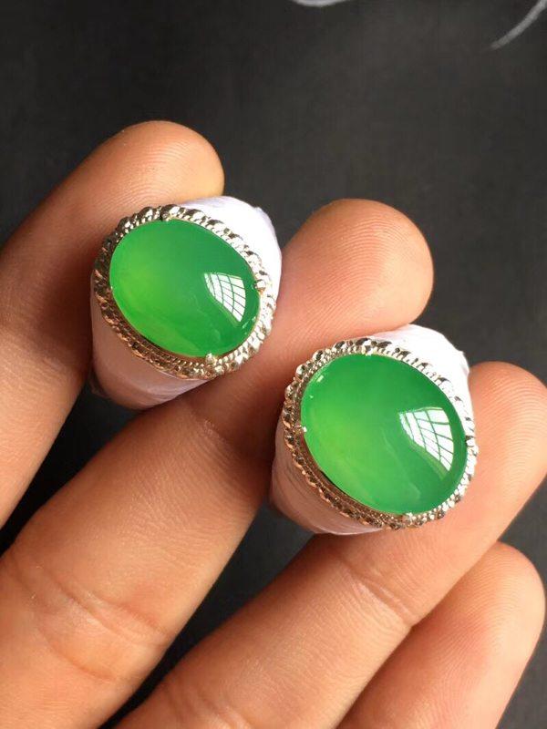 15.6*12.3*4.5寸高冰阳绿 翡翠戒指
