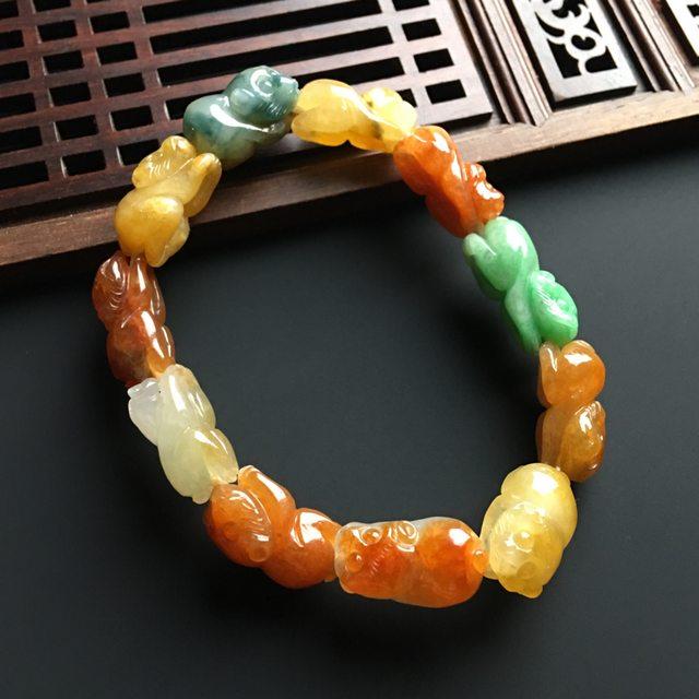 多彩灵猴翡翠手链 单个16-10-7毫米图2