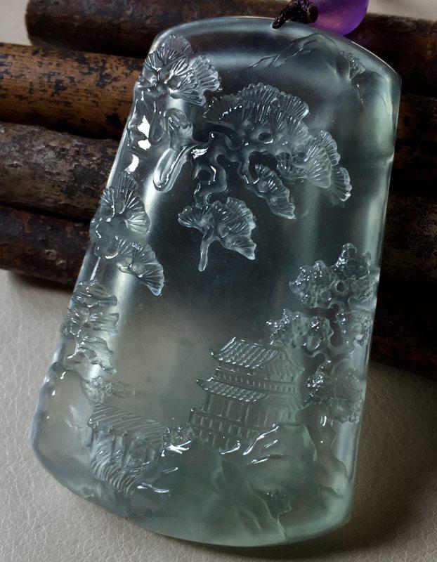 玻璃种山水 翡翠吊坠 尺寸57*36*8.5