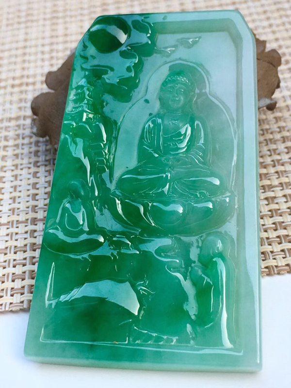 冰糯种满绿翡翠吊坠 细腻完美起光大件色辣