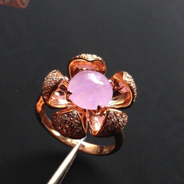 冰种粉椿静美 翡翠戒指 8-8-4毫米