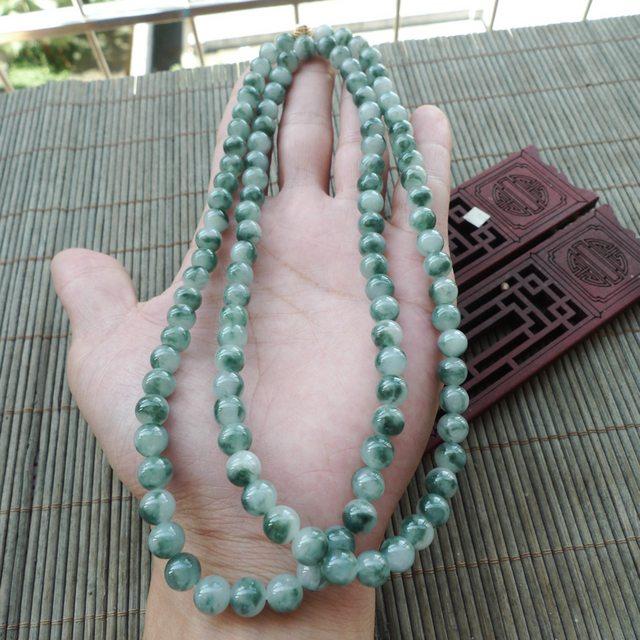 精美飘花圆珠翡翠项链 珠大取一7.5mm