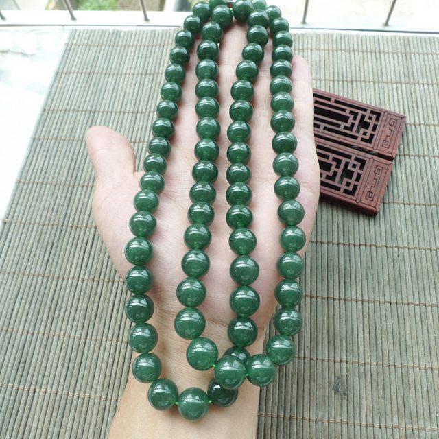 满绿圆珠翡翠项链取大11.8mm
