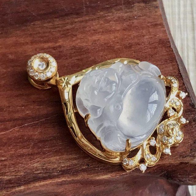 冰种雪花棉坐佛 翡翠挂件 裸石14.5~16.4~5.2mm