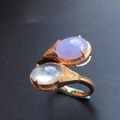 冰种紫罗兰 缅甸天然翡翠戒指 大小16.1*13.2*6.4mm