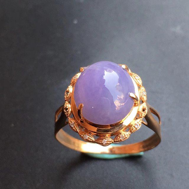 冰种紫罗兰 翡翠戒指大小9.9*9.7*6mm