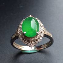 7.9*6.1*3寸冰种满色 缅甸天然翡翠戒指