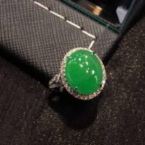 冰陽綠蛋面翡翠女戒指