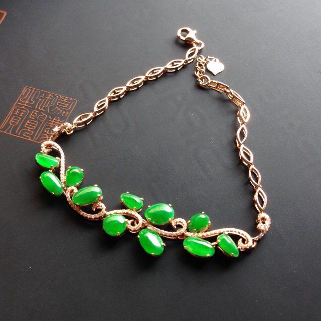 冰种阳绿翡翠镶嵌手链