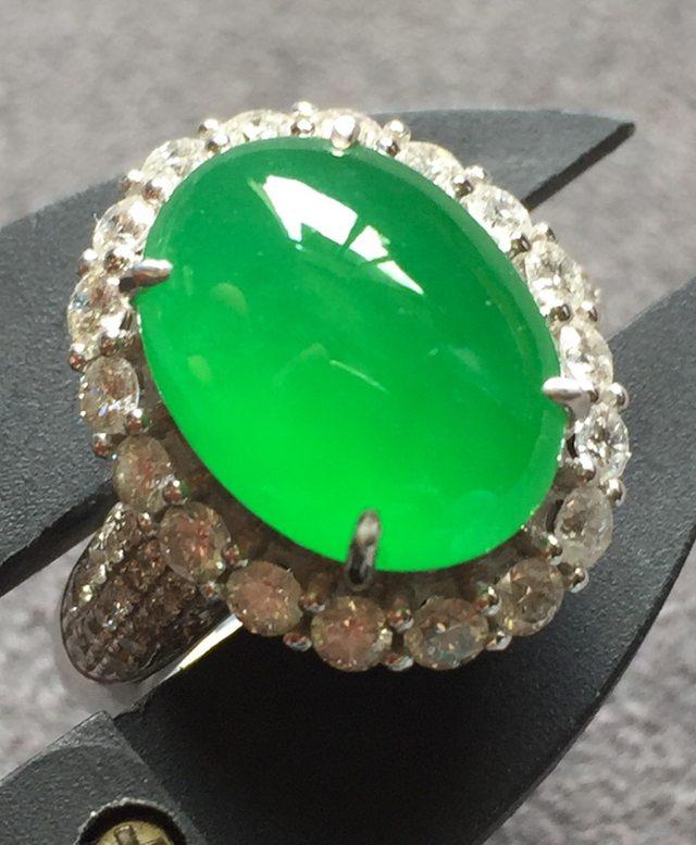 高冰阳绿 缅甸天然翡翠戒指 完美水润