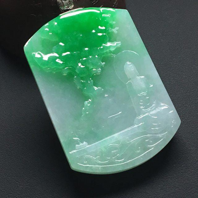 冰糯种阳绿 翡翠吊坠 尺寸:60-40-6.6毫米